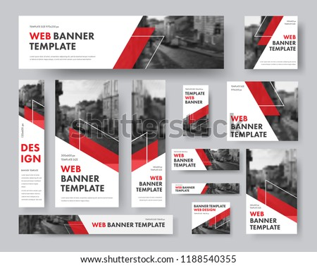 set of web banners of different sizes with diagonal red elements and a place for photos. Vector Templates for Web Stockfoto ©
