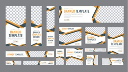 set of web banners of standard size with a place for photos. Vertical, horizontal and square template with black and yellow ribbon (lines), and buttons. Vector illustration