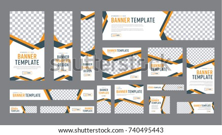 set of web banners of standard size with a place for photos. Vertical, horizontal and square template with black and yellow ribbon (lines), and buttons. Vector illustration #740495443