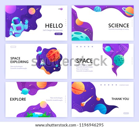 set of web banners templates. presentation. space explore. children cartoon vector art illustration. science