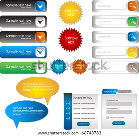 set of web buttons and web forms
