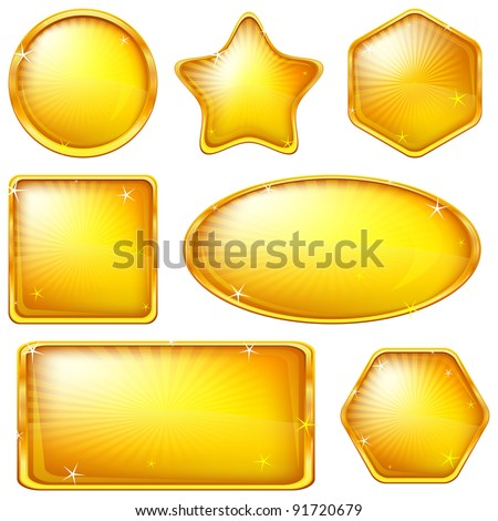 Set of web buttons of gold, different forms. Eps10: contains transparency. Vector