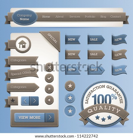 Set of web design elements with jeans texture