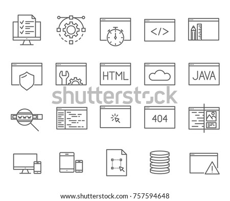 Set of web-development Related Vector Line Icons. Includes such Icons as internet technologies, programming languages, code and etc.