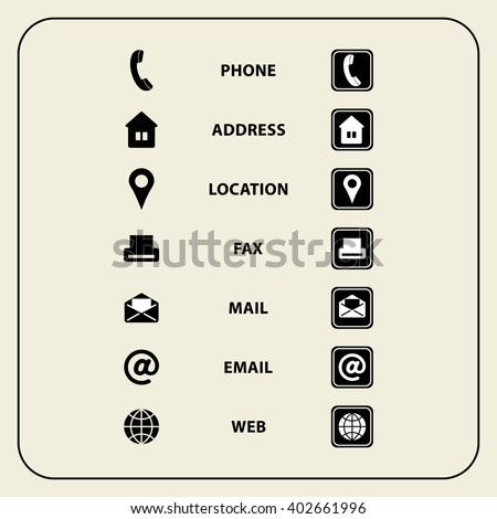 Set of web icons for Business cards, finance and communication. Multipurpose symbols for design. Vector illustration