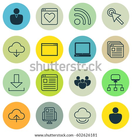 Set Of 16 Web Icons. Includes Login, Account, PC And Other Symbols. Beautiful Design Elements.