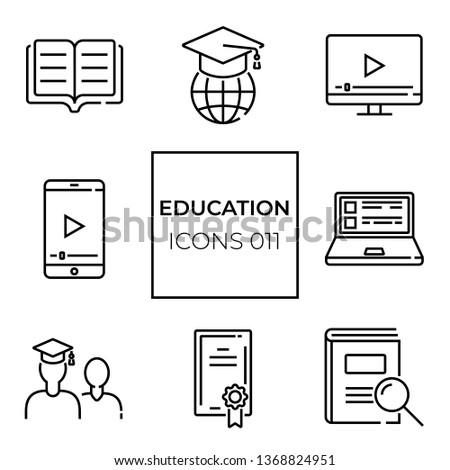 set of web icons of 8 pieces on the topic of online learning  #1368824951