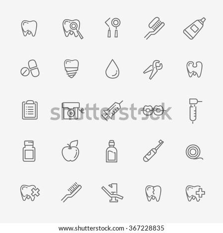 Set of web icons - teeth, dentistry, medicine, health