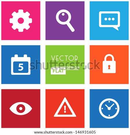 Set of web icons. Vector flat design