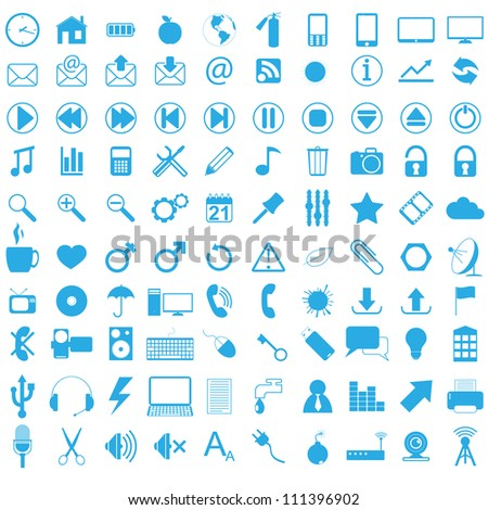 Set of web icons. Vector illustration.