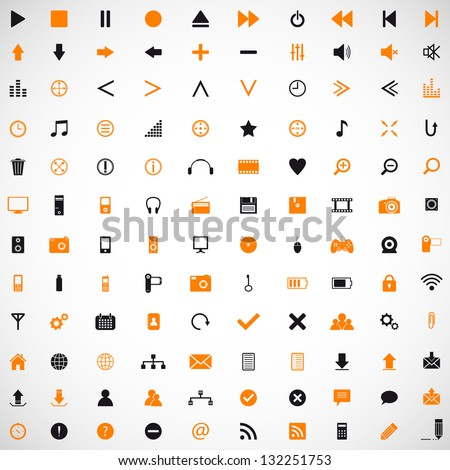 Set of web, internet, media, home appliances vector icons