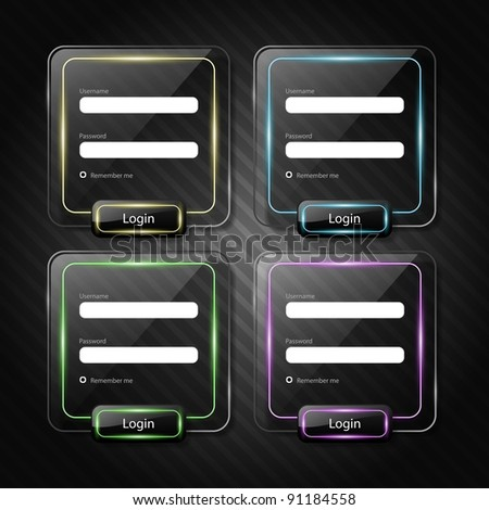 set of web login forms