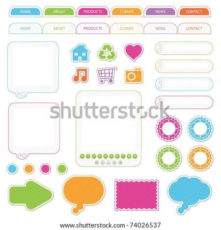 set of web nav bar, stickers, boxes and icons isolated on white, no gradients