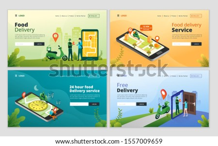 Set of web page design template for online food delivery service. Fast food shipping concept for website and mobile website development