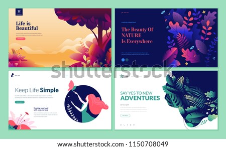 Set of web page design templates for beauty, spa, wellness, natural products, cosmetics, body care. Modern vector illustration concepts for website and mobile website development.  #1150708049
