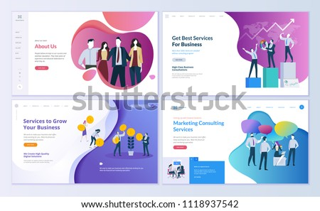 Set of web page design templates for business, finance and marketing. Modern vector illustration concepts for website and mobile website development. Easy to edit and customize. stock photo