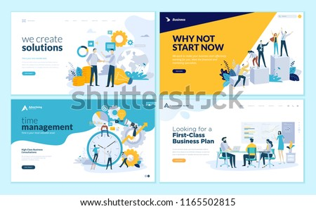 Set of web page design templates for business solutions, startup, time management, planning and strategy. Modern vector illustration concepts for website and mobile website development.