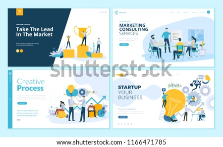Set of web page design templates for creative process, business success and teamwork, marketing consulting . Modern vector illustration concepts for website and mobile website development.