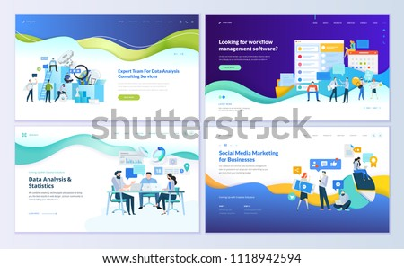 Set of web page design templates for data analysis, management app, consulting, social media marketing. Modern vector illustration concepts for website and mobile website development.  - Shutterstock ID 1118942594