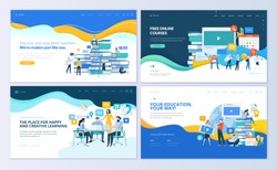 Set of web page design templates for distance education, online courses, e-learning, tutorials. Modern vector illustration concepts for website and mobile website development.