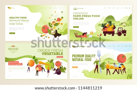 Set of web page design templates for farm fresh food, online food ordering, organic vegetable, e-commerce. Vector illustration concepts for website and mobile website development.