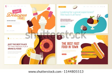 Set of web page design templates for fast food,  ice cream, pastry shop, confectionery, sweets, restaurant, food and drink. Vector illustration concepts for website and mobile website development.