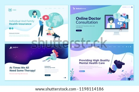 Set of web page design templates for medicine, health insurance, therapy,  online medical services. Modern vector illustration concepts for website and mobile website development.