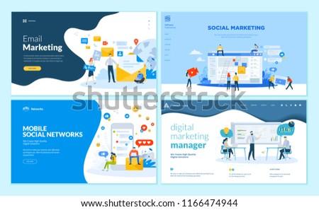 Set of web page design templates for mobile social network, internet marketing solutions. Modern vector illustration concepts for website and mobile website development.