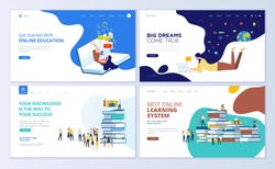 Set of web page design templates for online education, training and courses, learning, video tutorials. Modern vector illustration concepts for website and mobile website development.