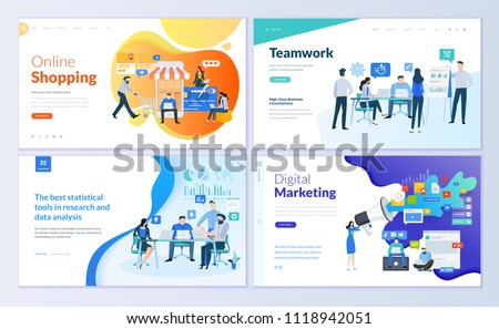 Set of web page design templates for online shopping, digital marketing, teamwork, business strategy and analytics. Modern vector illustration concepts for website and mobile website development.  stock photo