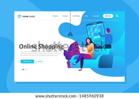 Set of web page design templates for online shopping. Modern vector illustration concepts for website and mobile website development.