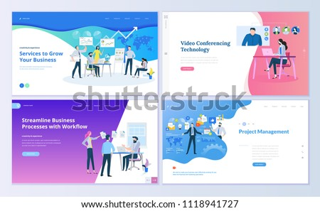 Set of web page design templates for project management, business communication, workflow and consulting. Modern vector illustration concepts for website and mobile website development.  #1118941727