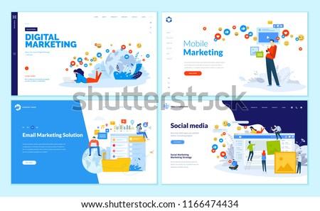 Set of web page design templates for social media, online marketing and communication. Modern vector illustration concepts for website and mobile website development.