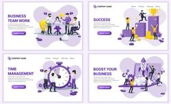 Set of web page design templates for startup business, time management and team work. Can use for web banner, poster, infographics, landing page, web template. Flat vector illustration