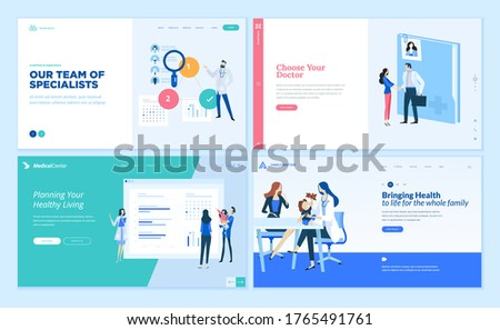 Set of web page design templates on medicine and health care. Vector illustrations for website design and development.