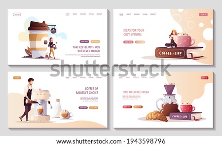 Set of web pages for Coffee shop, break, cafe-bar, restaurant. Barista with coffee machine. Woman with coffee in paper cup. Woman drinking coffee. Vector illustration for poster, banner, website.