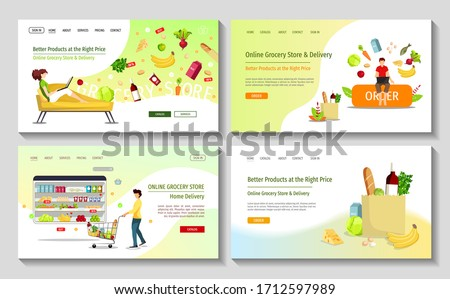 Set of web pages for Grocery Market, Online Store, Shopping, Home Delivery. Man with trolley, grocery bag and people ordering food. Vector illustration for poster, banner, flyer, commercial, offer.