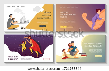 Set of web pages for Happy Father's Day, Fatherhood, Parenthood, Childhood, Dad with children. Vector illustration for poster, banner, website, cover, flyer.