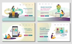 Set of Web pages for Online courses and trainings, Webinar, Distance education, Knowledge, Mobile learning App and E-learning. Vector illustration for poster, banner, presentation and website.