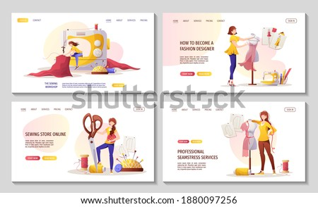 Set of web pages for sewing workshop or courses, seamstress, fashion design, tailoring, dressmaking. needlework, handicraft. Vector illustration for for banner, advertising, commercial, website. Stockfoto ©