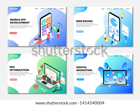 Set of web pages. Landing pages. Mobile app development, seo optimization, digital marketing, web design.  Modern web pages for web sites.