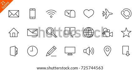 Set of Web Vector Line Icons. Contains such Icons as Globe, Wi-fi, Home, Heart, Phone, Pencil, Time Clock, Star and more. Editable Stroke.