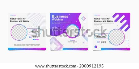 Set of webinar business for social media post. Modern poster suitable for business webinars, marketing webinars, online class programs, brochure digital banner template on square size.