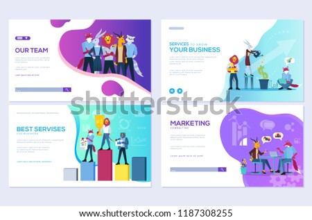 Set of website and mobile website development cards. Customize vector illustration templates for business, finance and marketing. Modern web page design  - Shutterstock ID 1187308255