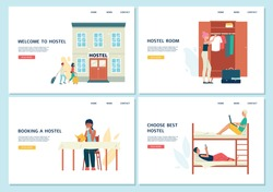 Set of website banners for advertising hosting and hostels, flat vector illustration on white background. Landing pages with tourists staying in a hostel room.