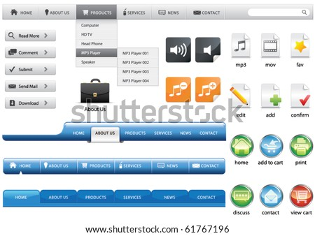 Set of website buttons, vector illustration