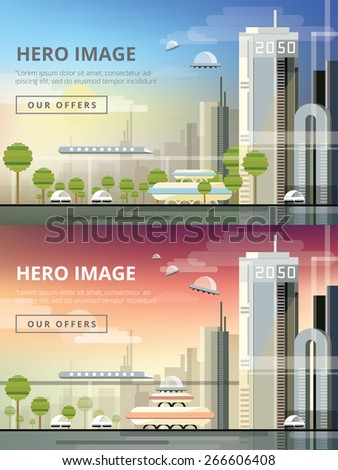 set of website hero images in
