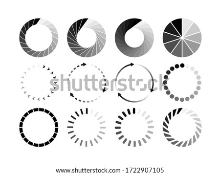Set of website loading black icon isolated on white background. Download or upload status icon. Vector illustration. Foto d'archivio ©
