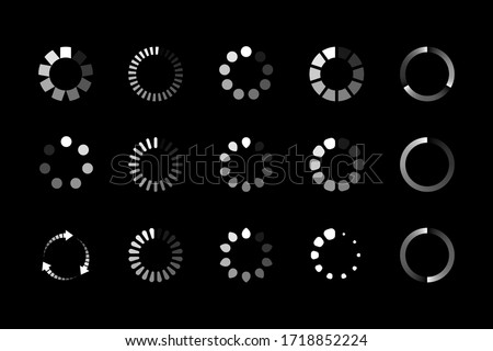 Set of website loading icon isolated on black background. Circle buffer loader or preloader. Download or upload status icon. Vector illustration