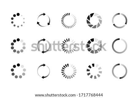 Set of website loading icon isolated on white background. Circle buffer loader or preloader. Download or upload status icon. Vector illustration Foto d'archivio ©
